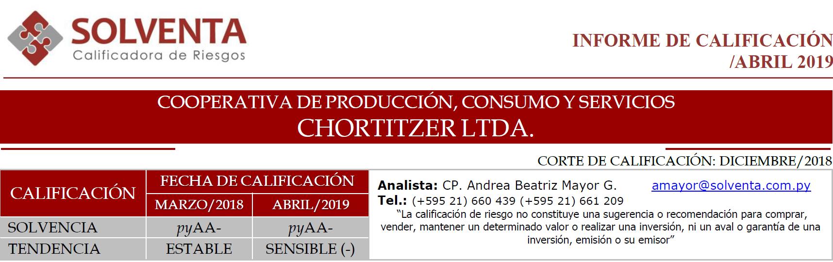 SOLVENTA renueva calificación de riesgos de Chortitzer Ltda.